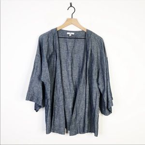 H By Halston Linen Wide Sleeve Shawl Open Cardigan